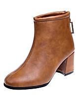 Недорогие -Жен. Fashion Boots Полиуретан Зима Ботинки На толстом каблуке Квадратный носок Ботинки Черный / Коричневый
