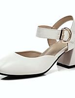 Недорогие -Жен. Комфортная обувь Полиуретан Весна Обувь на каблуках На толстом каблуке Белый / Коричневый / Хаки