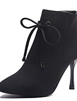 Недорогие -Жен. Fashion Boots Полиуретан Наступила зима На каждый день Ботинки На шпильке Заостренный носок Ботинки Черный / Лиловый