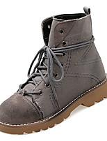 Недорогие -Жен. Армейские ботинки Полиуретан Осень На каждый день Ботинки На низком каблуке Круглый носок Сапоги до середины икры Серый / Коричневый