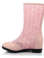 Недорогие -Жен. Комфортная обувь Полиуретан Весна Ботинки На низком каблуке Круглый носок Белый / Черный / Розовый