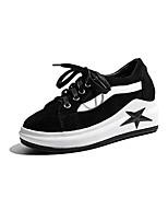 baratos -Mulheres Sapatos Confortáveis Pele Napa Primavera Tênis Creepers Dedo Fechado Preto