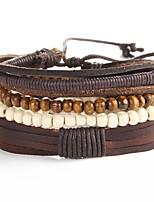 Недорогие -Муж. Плетение Кожаные браслеты - Художественный, Уникальный дизайн Браслеты Коричневый Назначение Для вечеринок Для улицы / 5 шт.