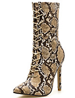 cheap -Women's Boots Stiletto Heel Pointed Toe Rhinestone Synthetics Mid-Calf Boots Sweet / Minimalism Spring &  Fall / Fall & Winter Brown / Party & Evening