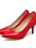 Недорогие -Жен. Балетки Полиуретан Осень Обувь на каблуках На шпильке Черный / Красный / Розовый