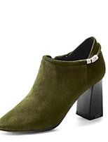 Недорогие -Жен. Fashion Boots Замша Осень Ботинки На толстом каблуке Закрытый мыс Ботинки Черный / Серый / Военно-зеленный