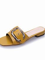 Недорогие -Жен. Slingback Замша Лето На каждый день Тапочки и Шлепанцы На низком каблуке Открытый мыс Черный / Бежевый / Желтый
