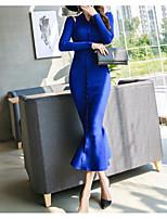 Недорогие -женский выход тонкий свитер / оболочка платье макси шеи