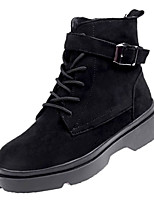 Недорогие -Жен. Армейские ботинки Полиуретан Зима На каждый день Ботинки На низком каблуке Сапоги до середины икры Черный / Бежевый