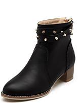 Недорогие -Жен. Fashion Boots Полиуретан Осень Ботинки На толстом каблуке Закрытый мыс Ботинки Черный / Желтый / Темно-коричневый