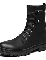 Недорогие -Муж. Fashion Boots Синтетика Зима Винтаж / На каждый день Ботинки Сохраняет тепло Сапоги до середины икры Черный