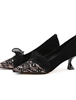 Недорогие -Жен. Балетки Синтетика Осень Обувь на каблуках Гетеротипическая пятка Черный / Телесный