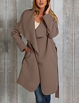 cheap -Women's Fall & Winter V Neck Coat Long Solid Colored Daily Basic Black Khaki Gray S M L XL