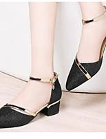 Недорогие -Жен. Комфортная обувь Полиуретан Лето Обувь на каблуках На толстом каблуке Золотой / Черный