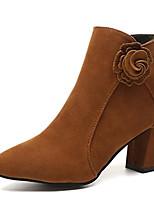 Недорогие -Жен. Fashion Boots Замша Осень На каждый день Ботинки На толстом каблуке Ботинки Черный / Коричневый