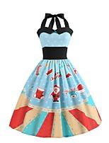 baratos -Mulheres Moda de Rua / Elegante Calças - Floco de Neve Pregueado / Estampado Cintura Alta Azul Claro / Nadador