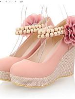 abordables -Femme Chaussures de confort Polyuréthane Automne Chaussures à Talons Hauteur de semelle compensée Beige / Bleu / Rose