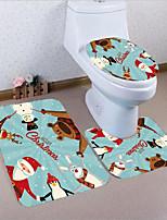 baratos -3 Peças Modern Tapetes Anti-Derrapantes Poliéster Elástico Tricotado 100g / m2 Inovador Retângular Banheiro Adorável