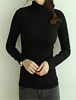 Недорогие -женская хлопчатобумажная тощая футболка - сплошная цветная водолазка