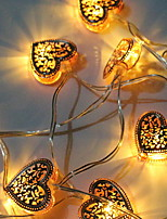 baratos -1.5m Cordões de Luzes 10 LEDs Branco Quente Decorativa Carregamento USB 1conjunto