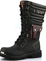 Недорогие -Муж. Fashion Boots Синтетика Зима Винтаж / На каждый день Ботинки Сохраняет тепло Сапоги до колена Черный