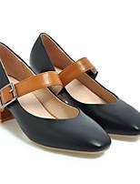 Недорогие -Жен. Комфортная обувь Полиуретан Весна Обувь на каблуках На толстом каблуке Черный / Бежевый
