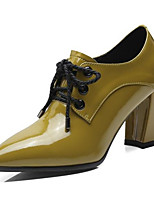 Недорогие -Жен. Балетки Наппа Leather Осень Обувь на каблуках На толстом каблуке Черный / Светло-желтый