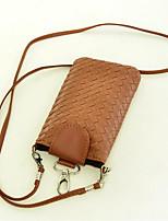 Недорогие -Жен. Мешки PU Мобильный телефон сумка Сплошной цвет Желтый / Пурпурный / Коричневый