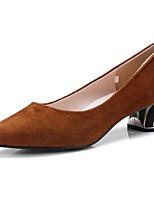 Недорогие -Жен. Комфортная обувь Замша Весна Обувь на каблуках На толстом каблуке Черный / Серый / Коричневый