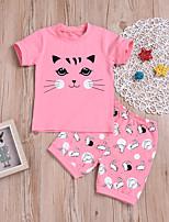 Недорогие -Дети / Дети (1-4 лет) Мальчики Кот С принтом С короткими рукавами Набор одежды