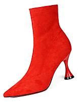 """Недорогие -Жен. Fashion Boots Полиуретан Зима На каждый день Ботинки Каблук """"Клеш"""" Сапоги до середины икры Черный / Лиловый / Красный"""
