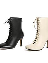Недорогие -Жен. Комфортная обувь Наппа Leather Наступила зима Ботинки На плоской подошве Черный / Бежевый