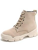 Недорогие -Жен. Армейские ботинки Замша Зима На каждый день Ботинки На плоской подошве Круглый носок Ботинки Черный / Хаки