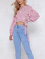 Недорогие -женская тонкая блузка - полосатая шея