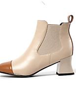 Недорогие -Жен. Fashion Boots Наппа Leather Зима Ботинки На толстом каблуке Закрытый мыс Ботинки Черный / Миндальный