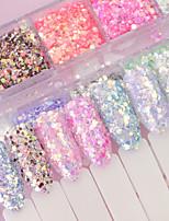 billiga -12 pcs Glitter Paljetter Multifunktion Mode nagel konst manikyr Pedikyr Dagligen Ljuv / Elegant