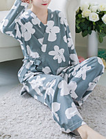 abordables -V Profond Costumes Pyjamas Femme Fleur
