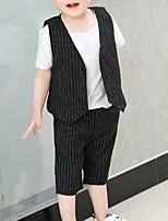 Недорогие -Дети Мальчики Полоски Без рукавов Набор одежды