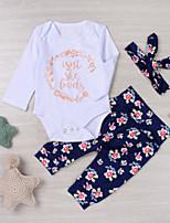 baratos -bebê Para Meninas Activo / Moda de Rua Diário / Feriado Floral Estampado Manga Longa Padrão Padrão Algodão Conjunto Azul 100 / Bébé