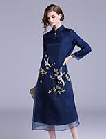 Недорогие -Жен. Винтаж / Шинуазери (китайский стиль) С летящей юбкой Платье Вышивка Средней длины