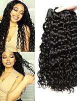 Недорогие -4 Связки Бразильские волосы Волнистые 8A Натуральные волосы Человека ткет Волосы Пучок волос One Pack Solution 8-28 дюймовый Нейтральный Естественный цвет Ткет человеческих волос Машинное плетение