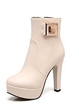 Недорогие -Жен. Fashion Boots Полиуретан Осень Ботинки На шпильке Закрытый мыс Ботинки Черный / Бежевый