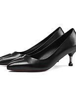 Недорогие -Жен. Балетки Наппа Leather Осень Обувь на каблуках На шпильке Черный / Красный
