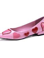 Недорогие -Жен. Балетки Лакированная кожа Зима Обувь на каблуках На толстом каблуке Черный / Розовый