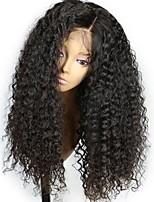 Недорогие -Remy Лента спереди Парик Бразильские волосы Кудрявый Парик Стрижка каскад 150% Плотность волос с детскими волосами Природные волосы Для темнокожих женщин Черный Жен. Длинные