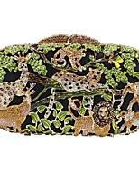 Недорогие -Жен. Мешки Сплав Вечерняя сумочка Кристаллы Животное Зеленый