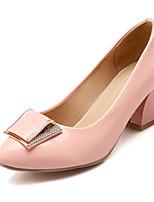 baratos -Mulheres Sapatos Confortáveis Couro Ecológico Primavera Saltos Salto Robusto Branco / Preto / Rosa claro