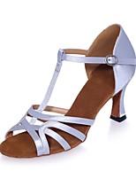 abordables -Femme Chaussures Latines Satin Sandale Boucle Talon Bobine Chaussures de danse Argent / Marron / Rouge