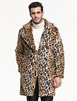 abordables -Manches Longues Fausse Fourrure Mariage / Fête / Soirée Wraps Hommes Avec Imprimé léopard Manteaux / Vestes