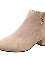 Недорогие -Жен. Fashion Boots Полиуретан Осень Минимализм Ботинки На толстом каблуке Заостренный носок Сапоги до середины икры Черный / Бежевый